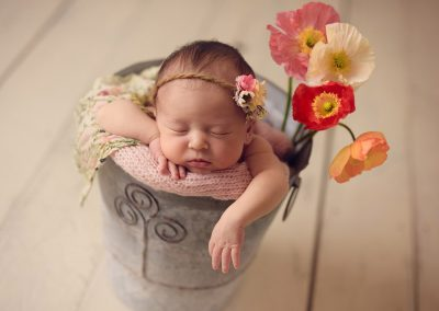 Newborn-baby-sleeping-in-Flower-pot